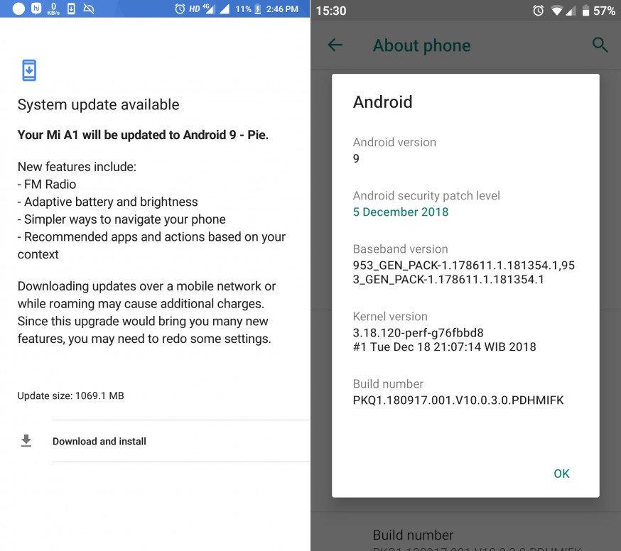 تحديث Android 9 0 Pie الرسمي (10 0 3 0) لهاتف Xiaomi Mi A1