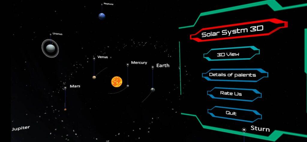 الصفحة الرئيسية لتطبيق 3D Solar System