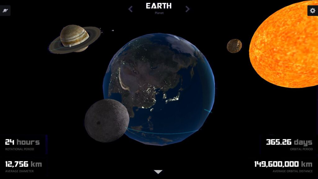 تطبيق Grasp The Galaxy, Solar System أحد تطبيقات استكشاف الفضاء