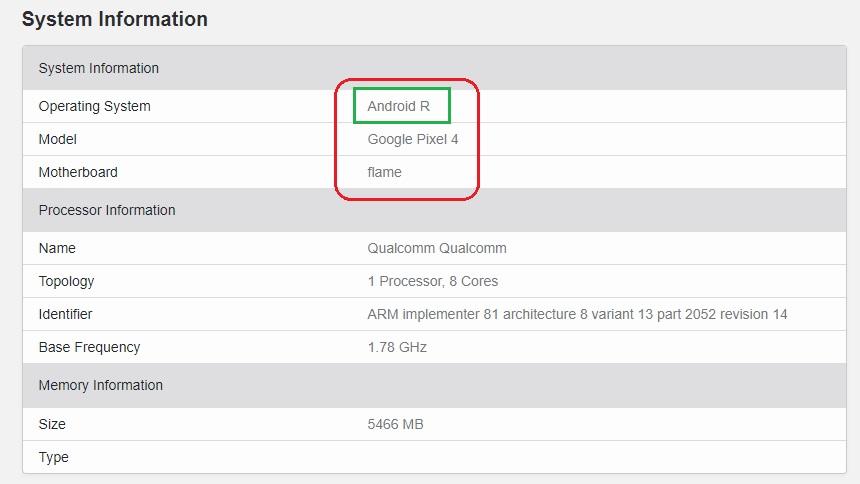 تسريب بيكسل 4 بنظام Android R