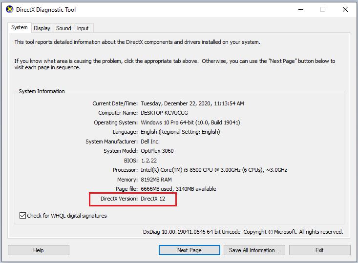 معرفة إصدار DirectX 12 على الويندوز